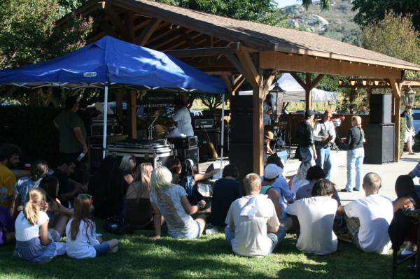 Enjoying music and food in the shade